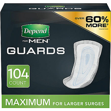 Depend Incontinence Guards for Men, Maximum Absorbency (2 pk. 52 ct., ea.)