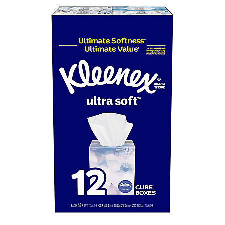 Kleenex Ultra Soft Facial Tissues - Cube Boxes (65 tissues per pk.; 12 pk.)