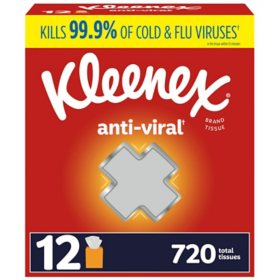 Kleenex Anti-Viral 3-Ply Facial Tissue - Cube boxes (12 pk., 60 tissues)