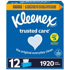 Kleenex Trusted Care Everyday Facial Tissues - Flat Boxes (12 pk., 144 tissues)