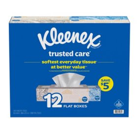 Kleenex Trusted Care Everyday Facial Tissues, Flat Boxes (144 tissues, 12 pk.)