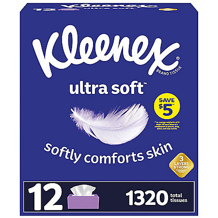 Kleenex Ultra Soft Facial Tissues, Flat Boxes (110 tissues, 12 pk.)