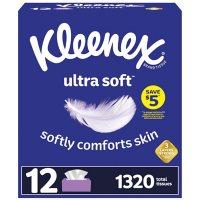 Kleenex Ultra Soft Facial Tissues, Flat Boxes (110 tissues, 12 pk.)