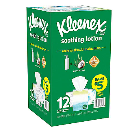 Kleenex Soothing Lotion Facial Tissues with Coconut Oil, Aloe and Vitamin E (12 ct.)
