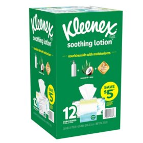 Kleenex Soothing Lotion Facial Tissues with Coconut Oil, Aloe and Vitamin E (12 cube box, 65 tissues)