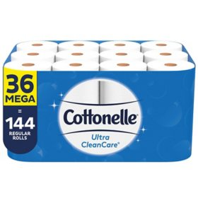 Cottonelle Ultra CleanCare Toilet Paper, Strong Bath Tissue, Septic-Safe (36 Mega Rolls, 340 sheets/roll)
