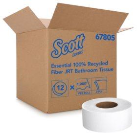 Scott - 100% Recycled Fiber JRT Jr. Bathroom Tissue, 2-Ply, 1000ft -  12/Carton