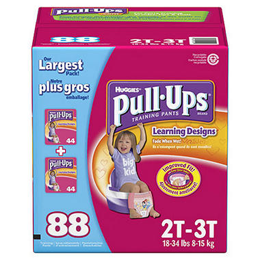 Huggies Pull-Ups Training Pants for Girls, Size 2T-3T (18-34 lbs.), 88 ct.