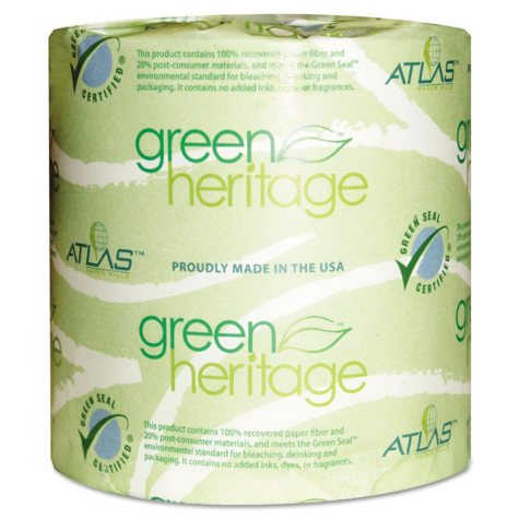 Atlas Paper Mills - Green Heritage Bathroom Tissue, 1-Ply, 1000 Sheets/Roll -  96 Rolls/Carton