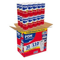 POM Kitchen Roll Paper Towels, 8 7/8 x 11, White, 2-Ply (110/roll, 30 rolls)