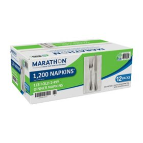 Marathon? 1/8 Fold Dinner Napkin, White, 1200 Napkins Total