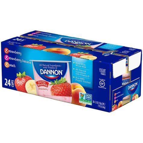 Dannon Blended Whole Milk Yogurt Variety Pack (5.3 oz., 24 pk.)
