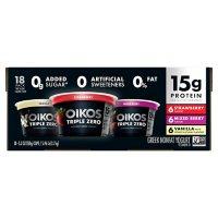 Dannon Oikos Triple Zero Blended Greek Nonfat Yogurt, Variety Pack (5.3 oz., 18 pk.)