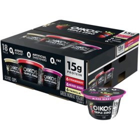Dannon Oikos Triple Zero Blended Greek Nonfat Yogurt, Variety Pack (5.3 oz., 18 pk.)