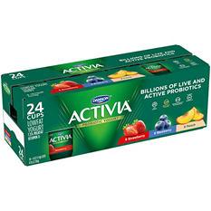Activia Probiotic Yogurt Strawberry, Blueberry, Peach Assortment (24 pk., 4 oz.)