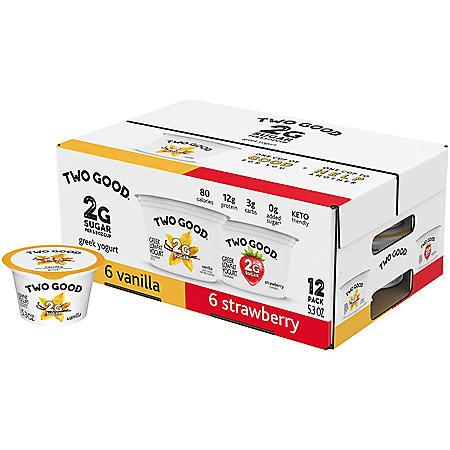 Two Good Lowfat Greek Yogurt Single Serving Variety Pack (12 pk.)
