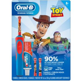 Oral-B Kid's Electric Toothbrush and Crest Sparkle Fun Toothpaste (Frozen or Toy Story)