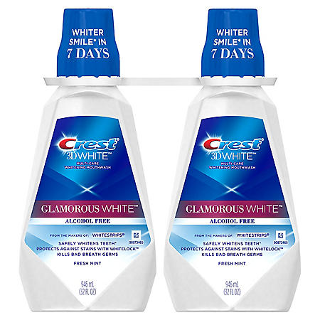 Crest 3D White Glamorous White Alcohol Free Whitening Mouthwash, Fresh Mint (32 fl. oz., 2 pk.)