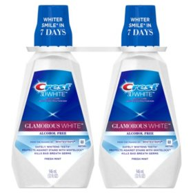 Crest 3D White Glamorous White Alcohol Free Whitening Mouthwash, Fresh Mint (32 fl. oz., 2 pk.)