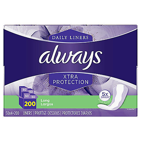 Always Anti-Bunch Xtra Protection Daily Liners, Long, Unscented (200 ct.)