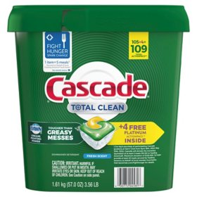 Cascade Total Clean ActionPacs, Dishwasher Detergent, Fresh Scent (105 ct.)?