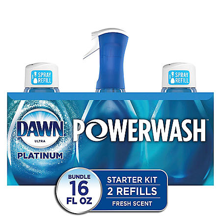 Dawn Platinum Powerwash Dish Spray, Dish Soap, Fresh Scent Bundle, 1 spray (16 oz.) plus 2 refills (16 oz. ea.)