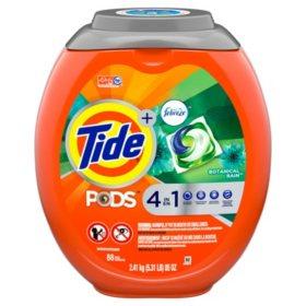 Tide PODS Plus Febreze Liquid Laundry Detergent Pacs, Botanical Rain, 88 count