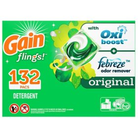 Gain flings! +AromaBoost Laundry Detergent Pacs, Original (132 ct.)