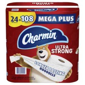 Charmin Ultra Strong Toilet Paper 24 Mega Plus Roll, Bath Tissue, 330 Sheets Per Roll?