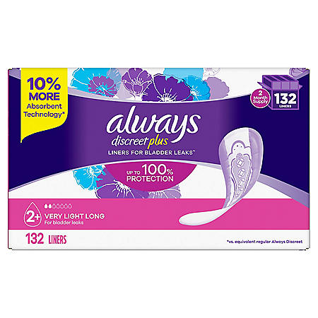 Always Discreet Plus Incontinence Liners, Very Light Absorbency, Long Length (132 ct.)