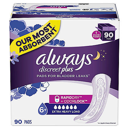 Always Discreet plus, Incontinence Pads for Women, Extra Heavy Absorbency, Long Length, (90 ct.)
