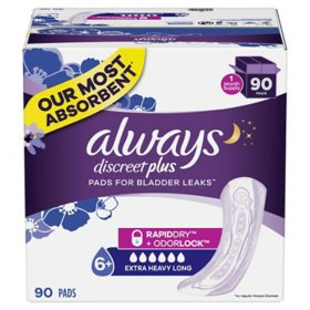 Always Discreet Plus Incontinence Pads, Extra Heavy Absorbency, Long Length (90 ct.)