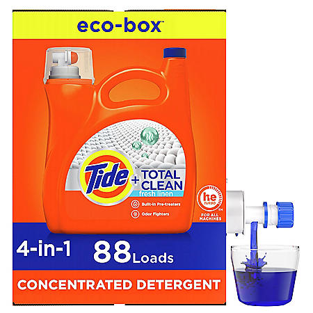 Tide Total Clean Liquid Laundry Detergent Eco-Box, HE Compatible, Fresh Linen (132 fl. oz., 88 loads)