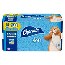 Charmin Ultra Soft Toilet Paper 45 Super Roll, Bath Tissue, 208 Sheets Per Roll