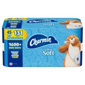 Charmin Ultra Soft Toilet Paper 45 Super Roll, Bath Tissue (208 sheets per roll)