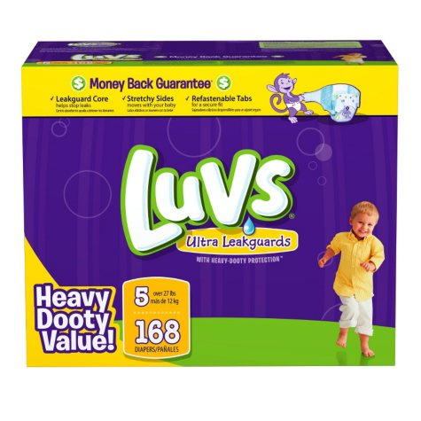 Luvs Ultra Leakguard Diapers, Size 5 (27+ lbs.), 168 ct.