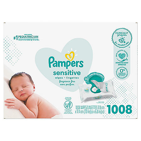 Pampers Baby Wipes, Sensitive Perfume Free, 14 Pop-Top Packs (1008 wipes)