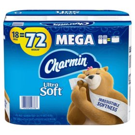 Charmin Ultra Soft Toilet Paper (18 Super Mega Rolls, 264 Sheets Per Roll)