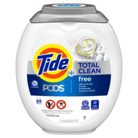Tide PODS Total Clean Free Liquid Laundry Detergent Pacs For Sensitive Skin, 88 ct.