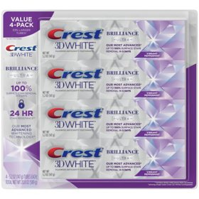 Crest 3D White Brilliance Teeth Whitening Toothpaste, Vibrant Peppermint (5.2 oz., 4 pk.)