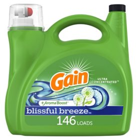 Gain Ultra Concentrated Liquid Laundry Detergent, Blissful Breeze (200 fl. oz., 146 loads)