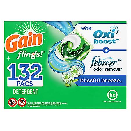 Gain Flings! Liquid Laundry Detergent Pacs, Blissful Breeze (132 ct.)
