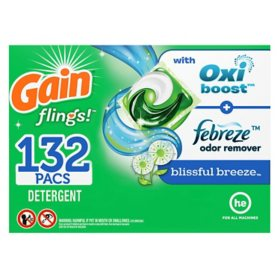 Gain Flings! Liquid Laundry Detergent Pacs, Blissful Breeze (132 ct.)