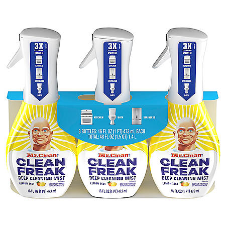 Mr. Clean, Clean Freak Deep Cleaning Mist Multi-Surface Spray, Febreze Lemon Zest (3 ct., 16 fl oz.)