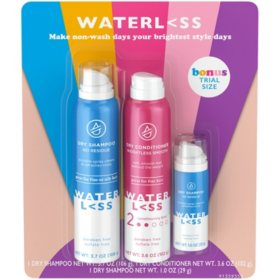 Waterless Bundle Pack with Dry Shampoo Spray, Dry Conditioner and Bonus Travel Size Dry Shampoo