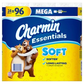 Charmin Essentials Soft Toilet Paper (24 mega rolls, 352 sheets/roll)