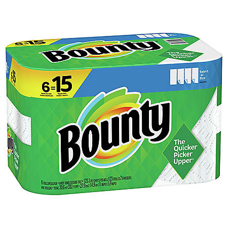 Bounty Select-A-Size Paper Towels, White, 6 Double Plus Rolls = 15 Regular Rolls (123 sheets/roll)