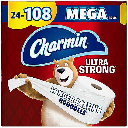 Charmin Ultra Strong Toilet Paper, 24 Bulk Mega Roll Bath Tissue, 308 Sheets Per Roll