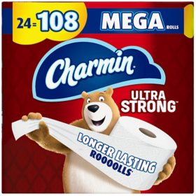 Charmin Ultra Strong Toilet Paper, 24 Bulk Mega Roll Bath Tissue, 308 Sheets Per Roll