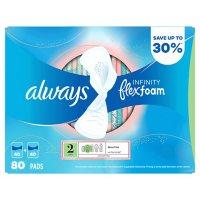 Always Infinity FlexFoam Pads, Size 2, Super Absorbency, Unscented (80 ct.)